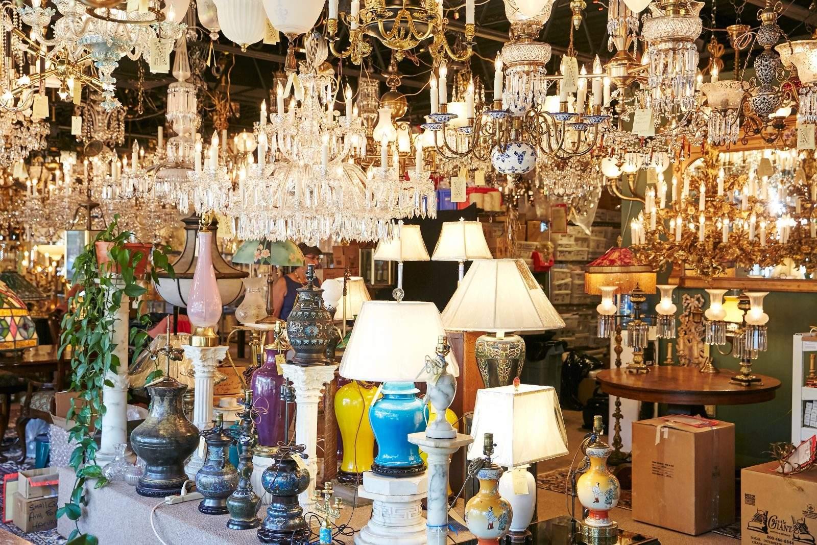 Showroom full of Antique Lighting