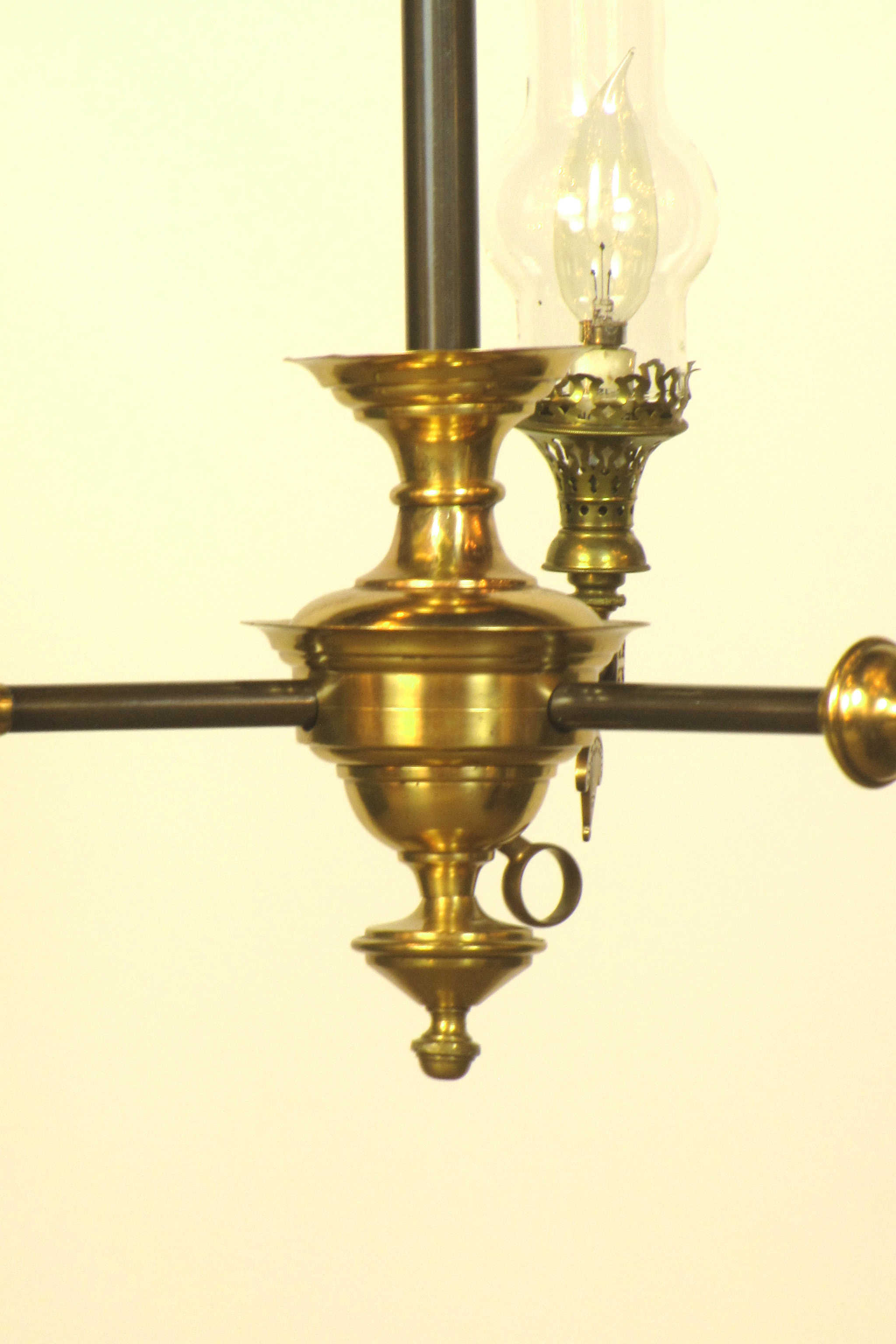 Sold Three Light Aesthetic Movement Fixture With Glass Chimneys Appleton Antique Lighting