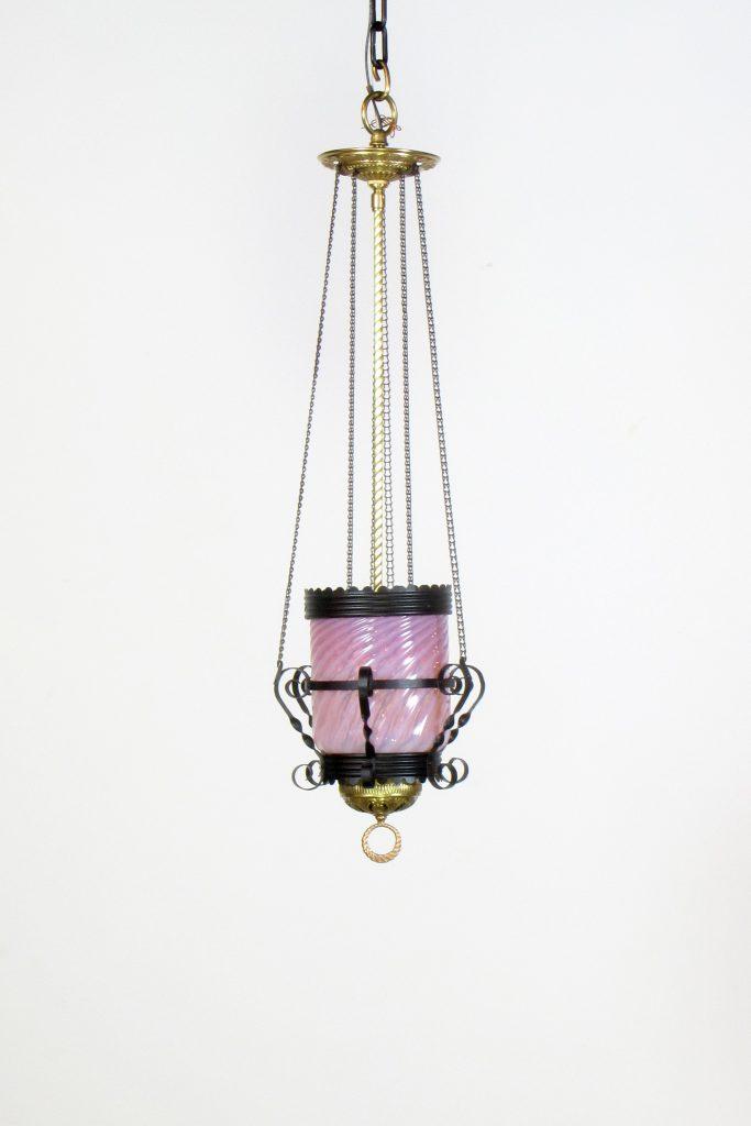 Cranberry Glass Oil Lantern - Appleton Antique Lighting