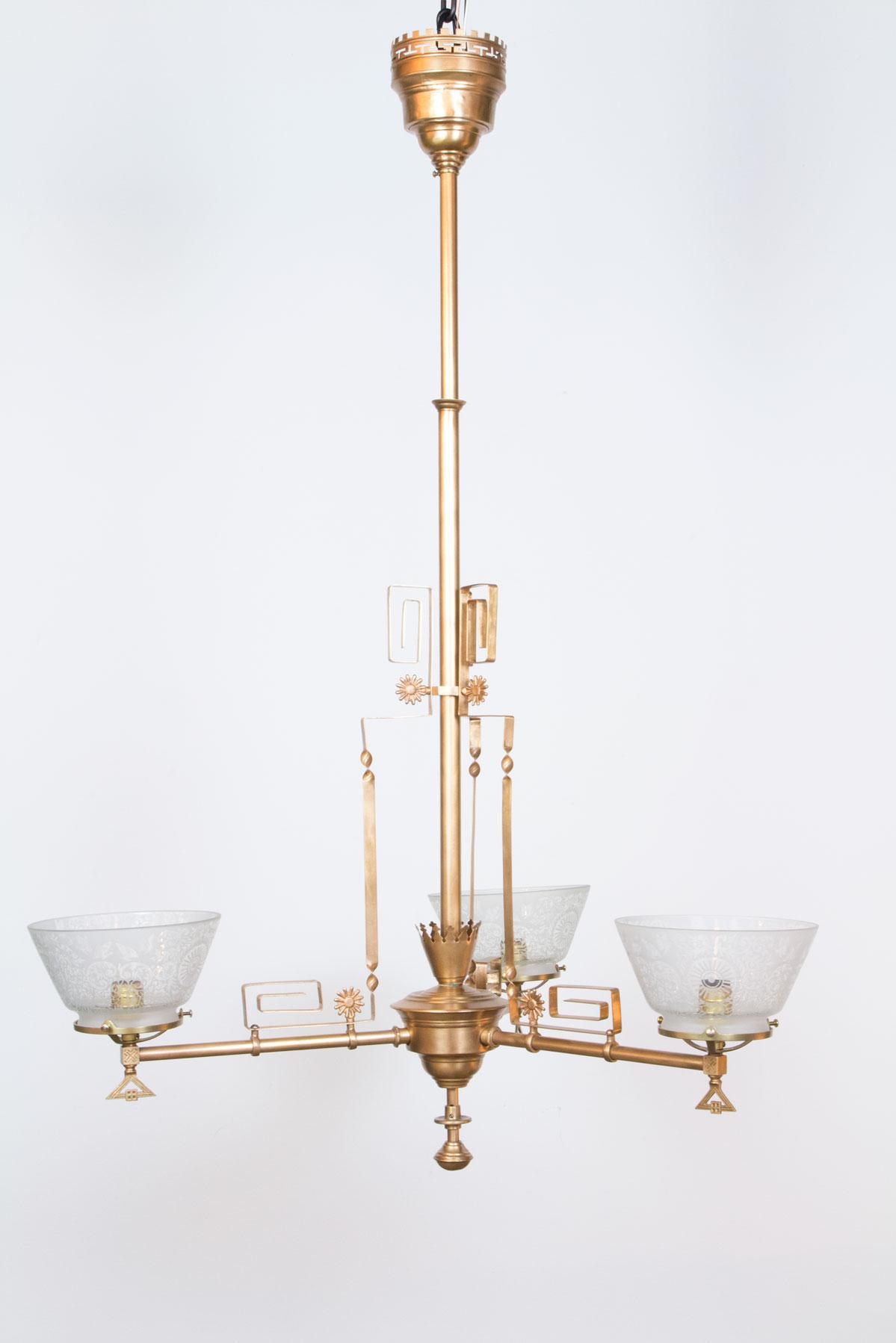 Three Light Aesthetic Movement Chandelier Appleton Antique Lighting
