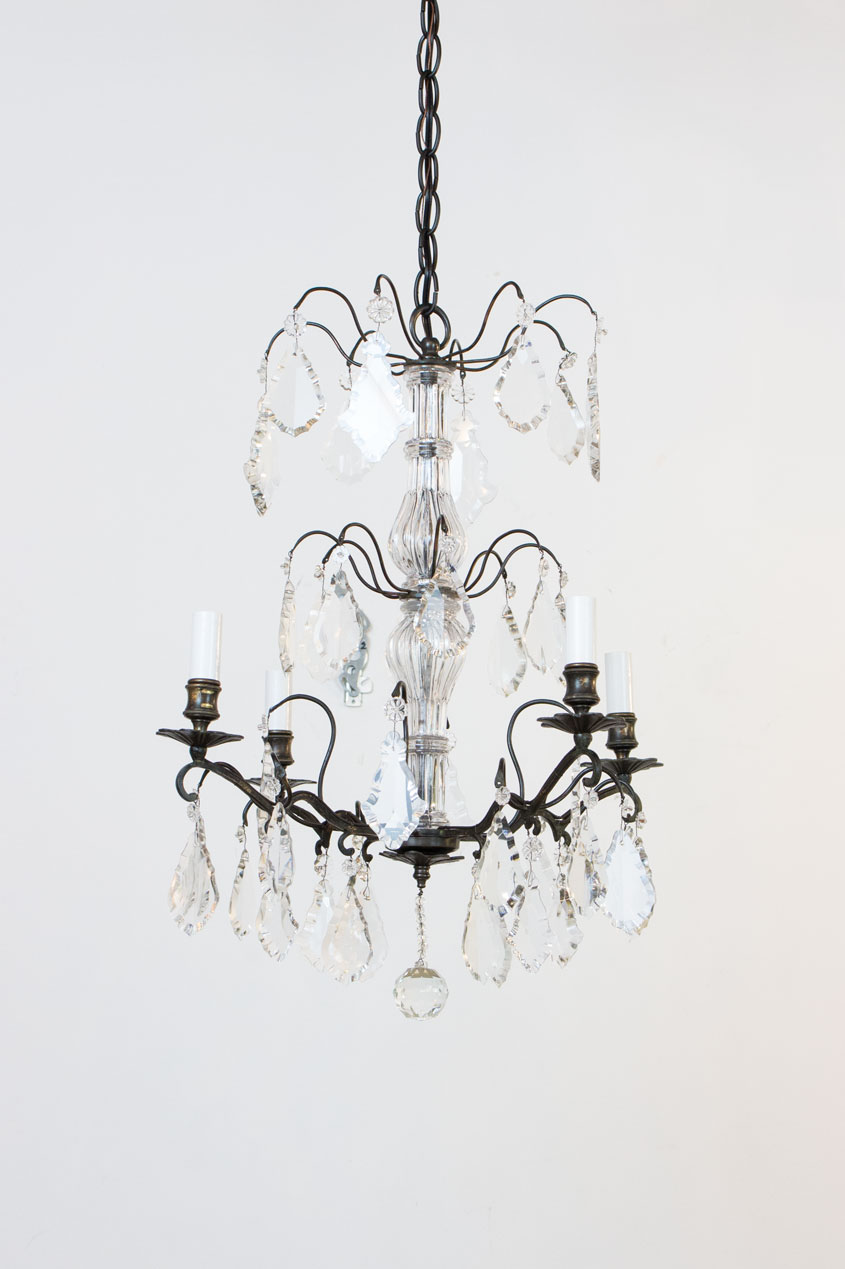 C344a & Petite French Bronze and Crystal Chandelier - Appleton Antique Lighting