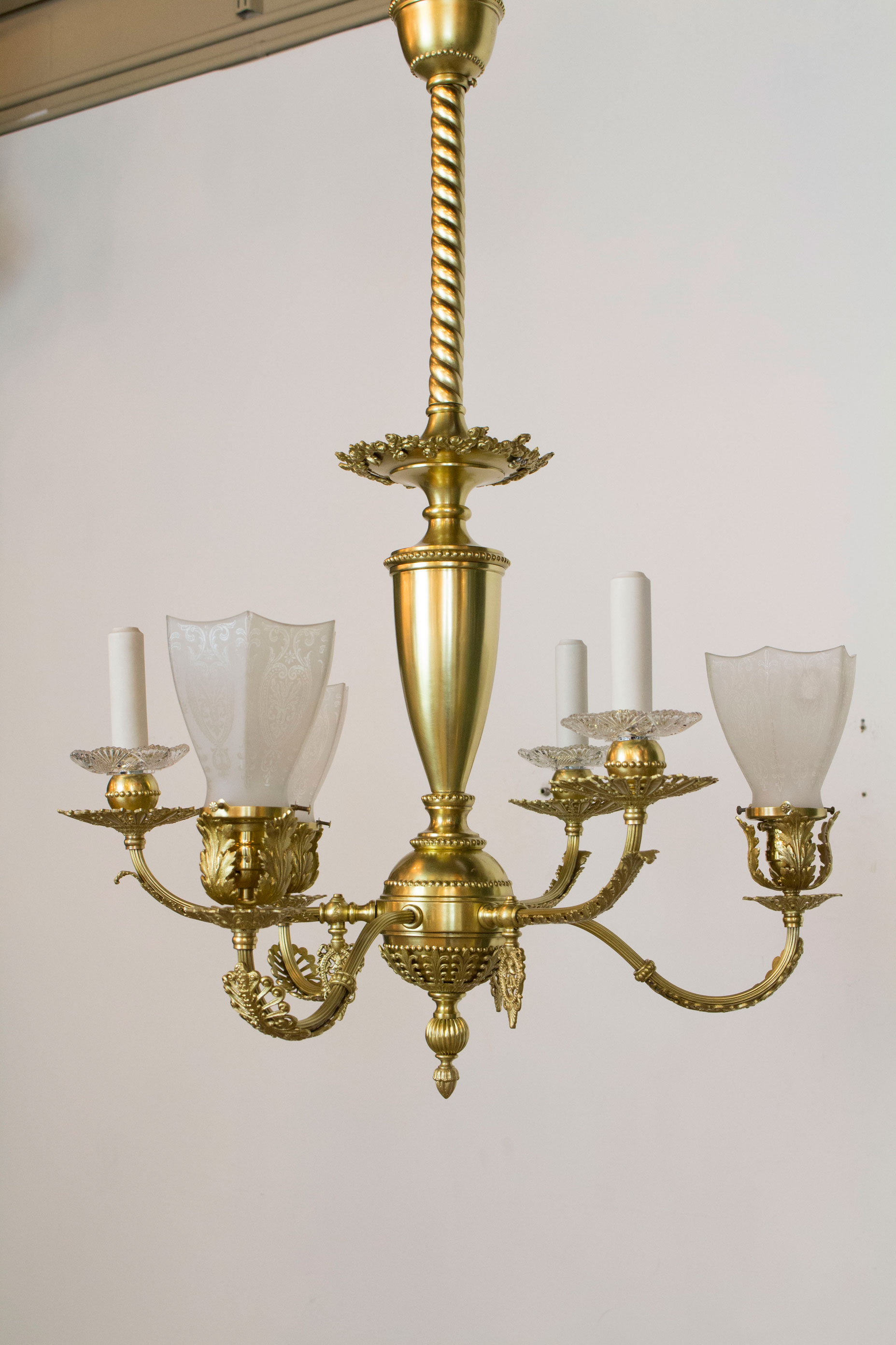 Delicate Gas And Electric Fixture With Original Glass