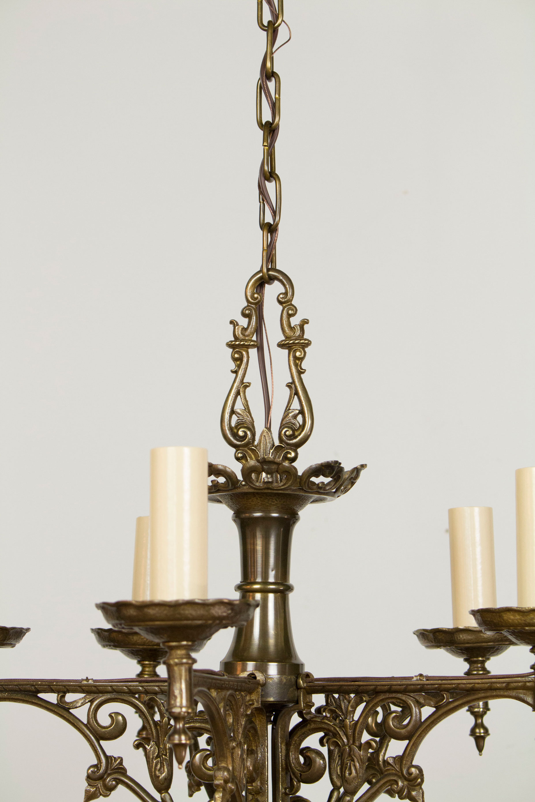 Five Light Antique Brass Tudor Chandelier Appleton