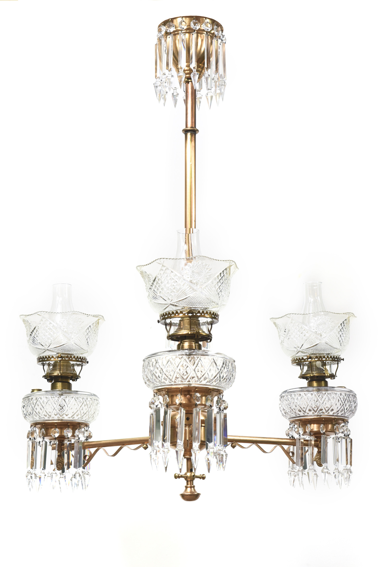 03a  sc 1 st  Appleton Antique Lighting & Three Light Aesthetic Movement Red Brass and Crystal Chandelier ...