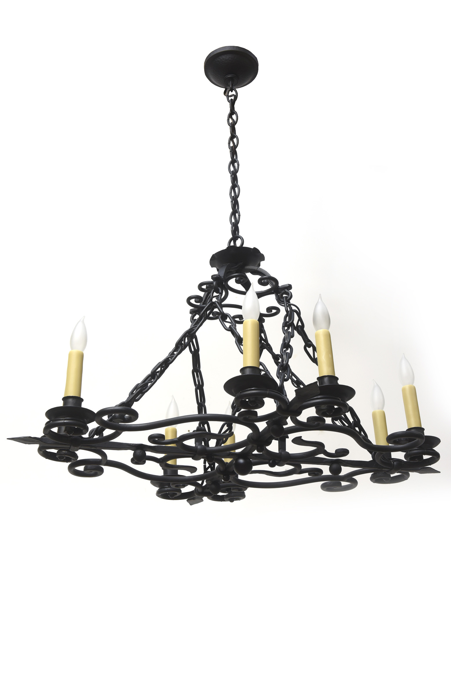 Wrought Iron Oblong Candle Chandelier