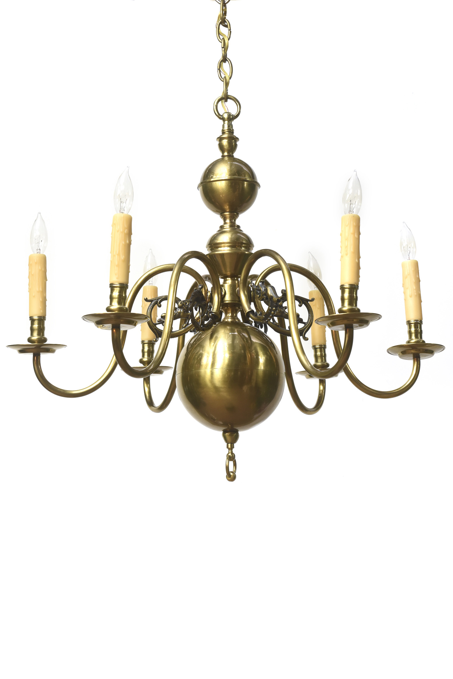 Six Arm Continental Colonial Chandelier