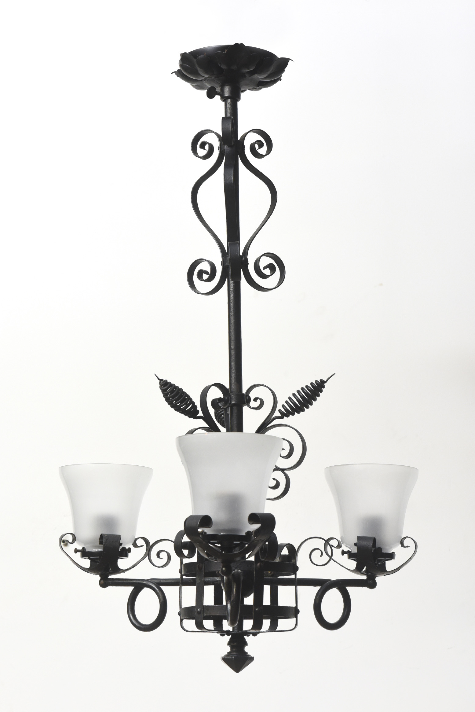 Three Light Wrought Iron Chandelier - Appleton Antique ...