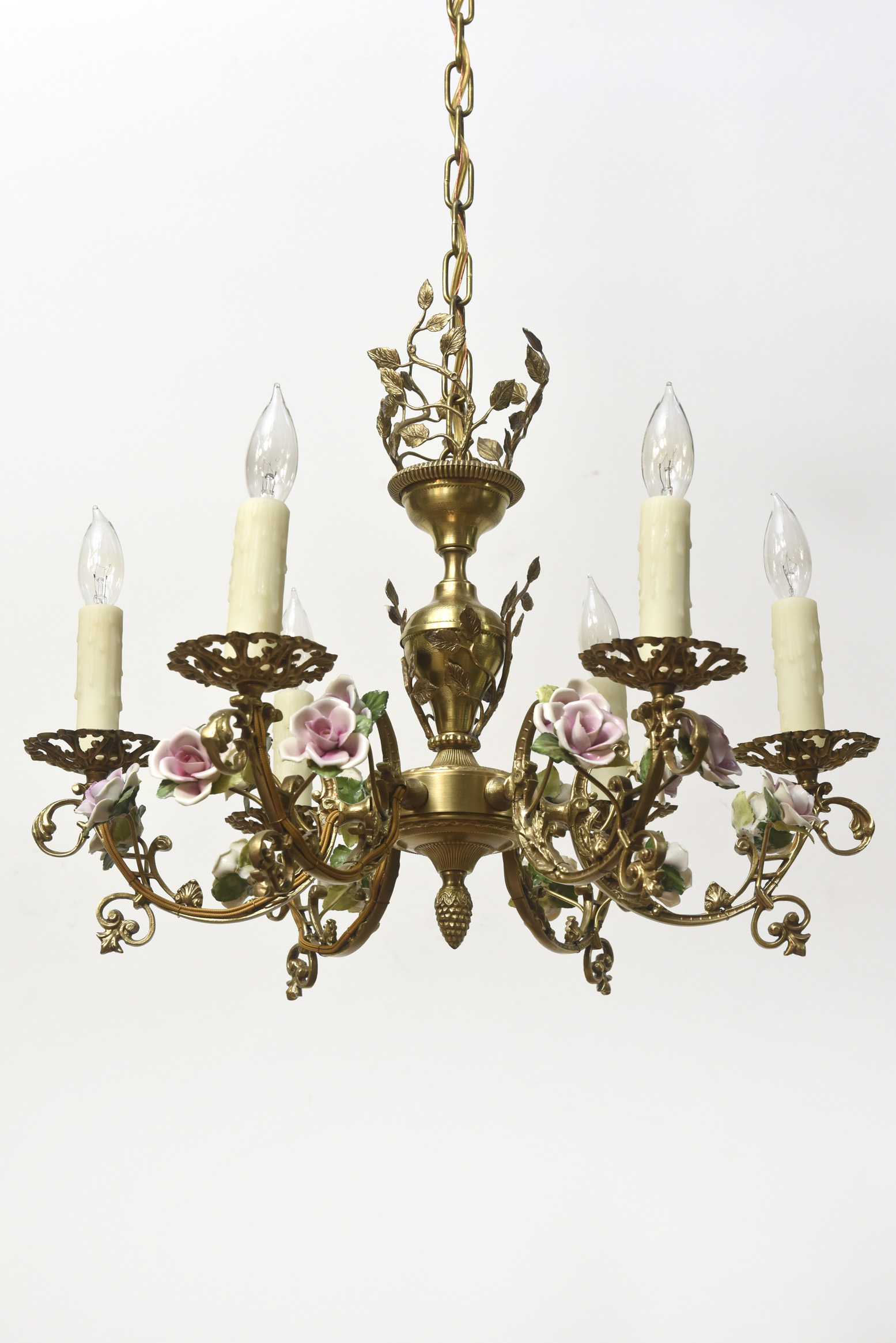 Six Light French Chandelier With Porcelain Roses