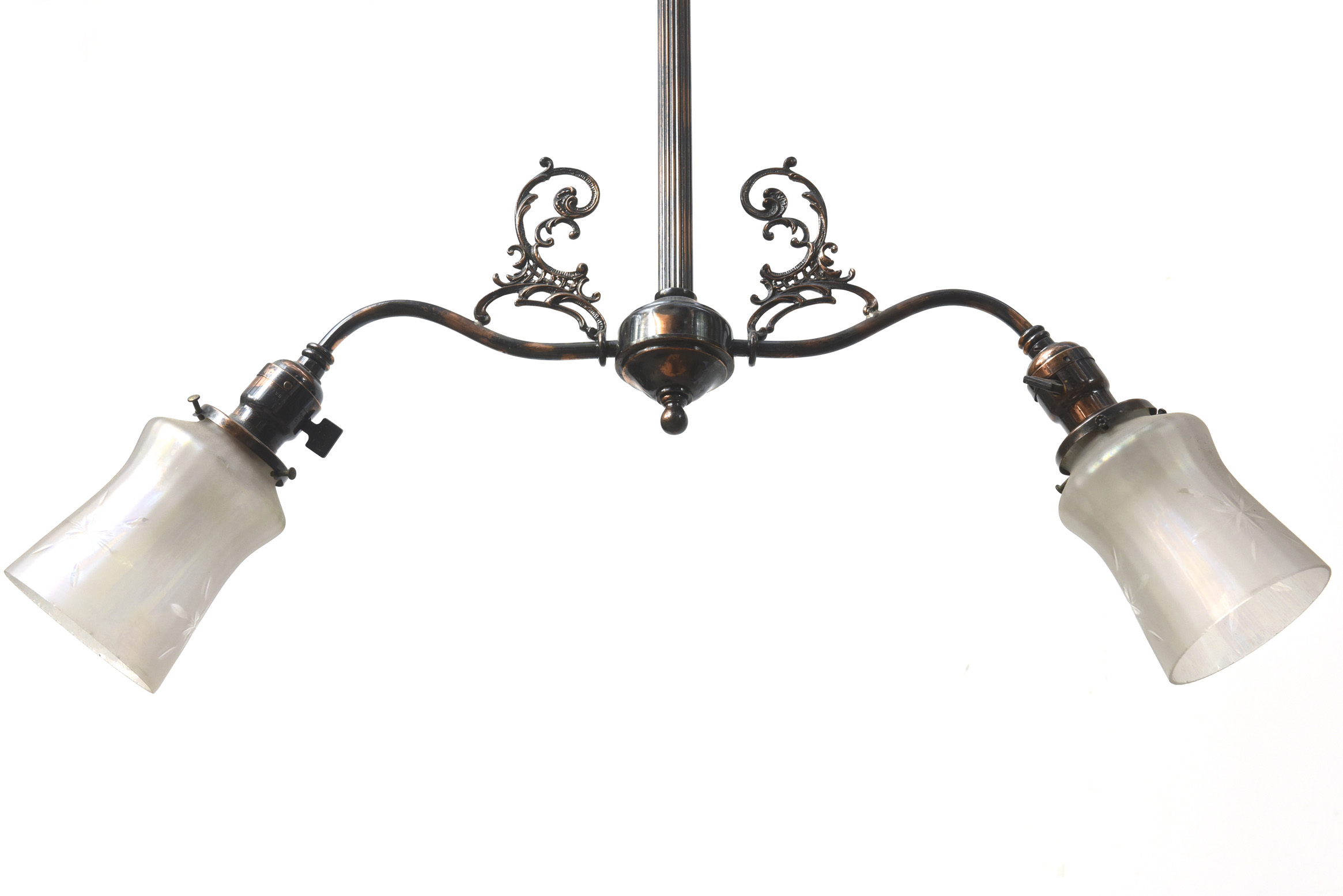 Two light early electric fixture with copper japanned finish c169j arubaitofo Gallery