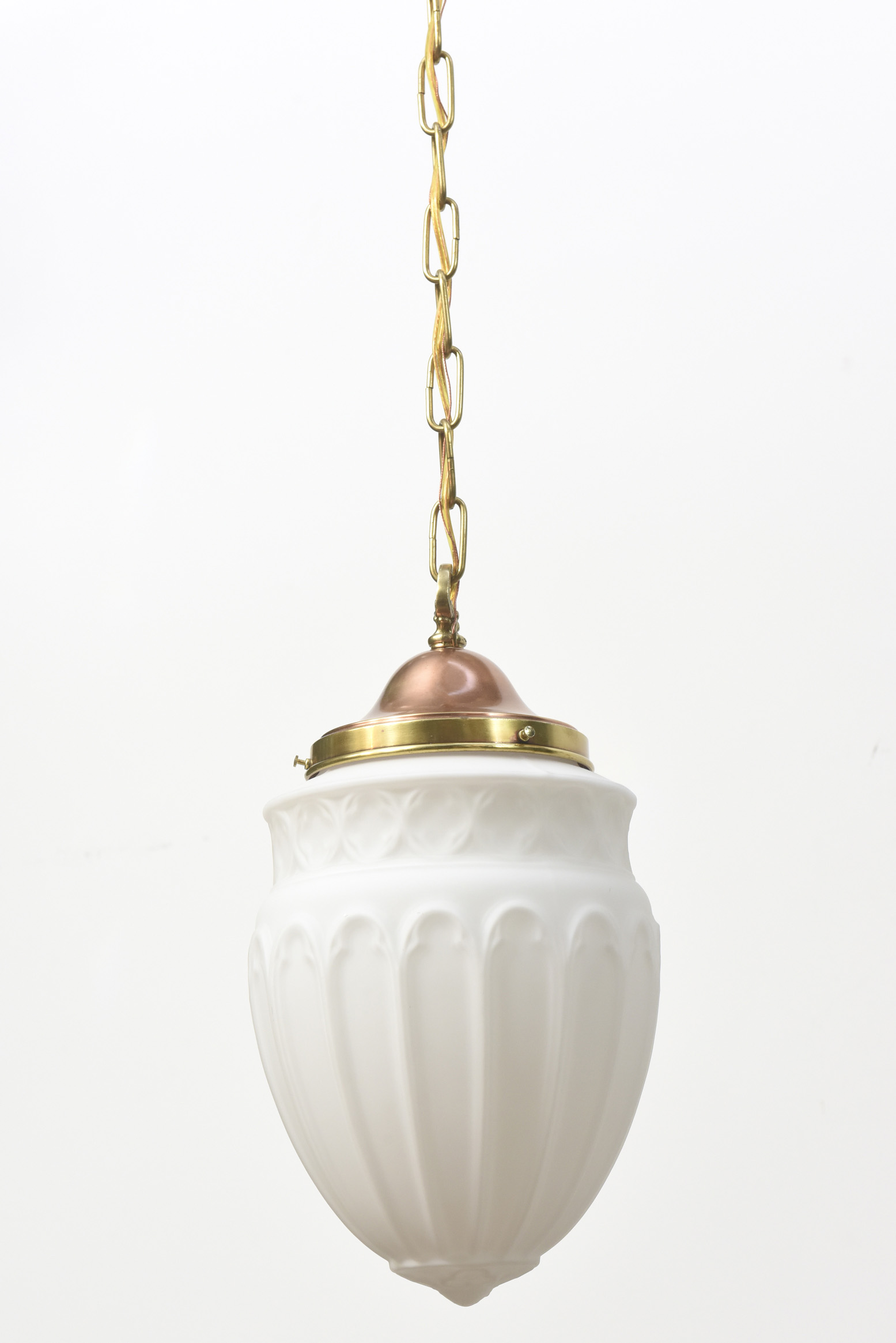 White Glass Pendant With Quatrefoil Border Appleton
