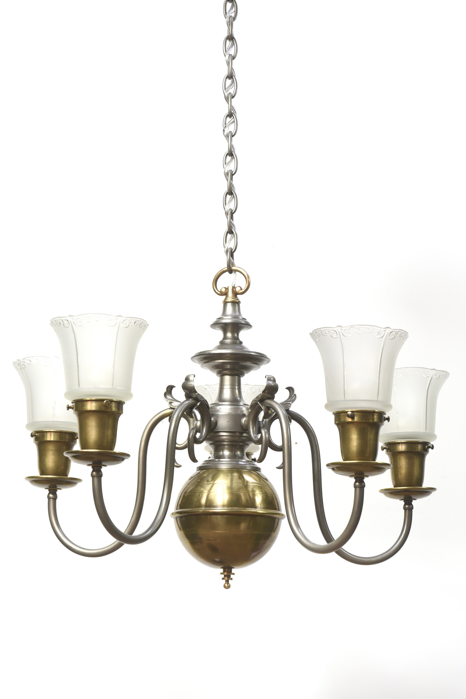 Five Light Pewter And Br Colonial Revival Chandelier