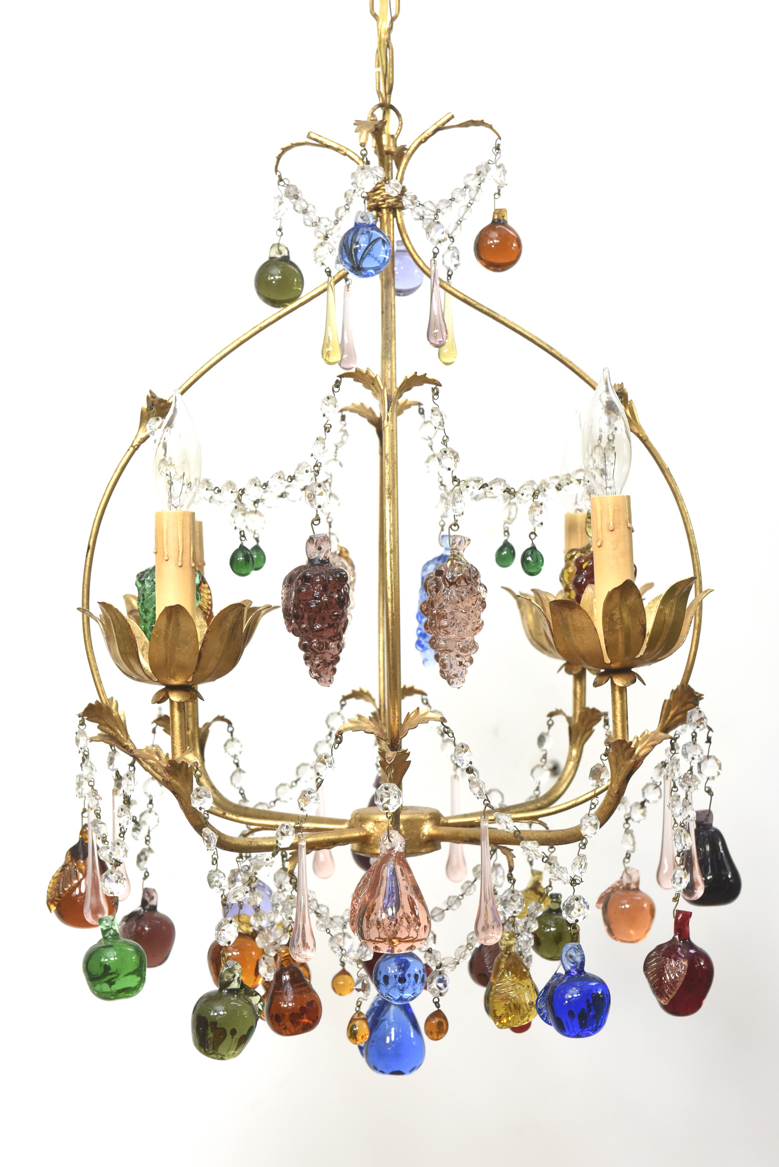 Colorful vintage italian chandelier with hanging crystal fruits homecrystal colorful vintage italian chandelier aloadofball Gallery