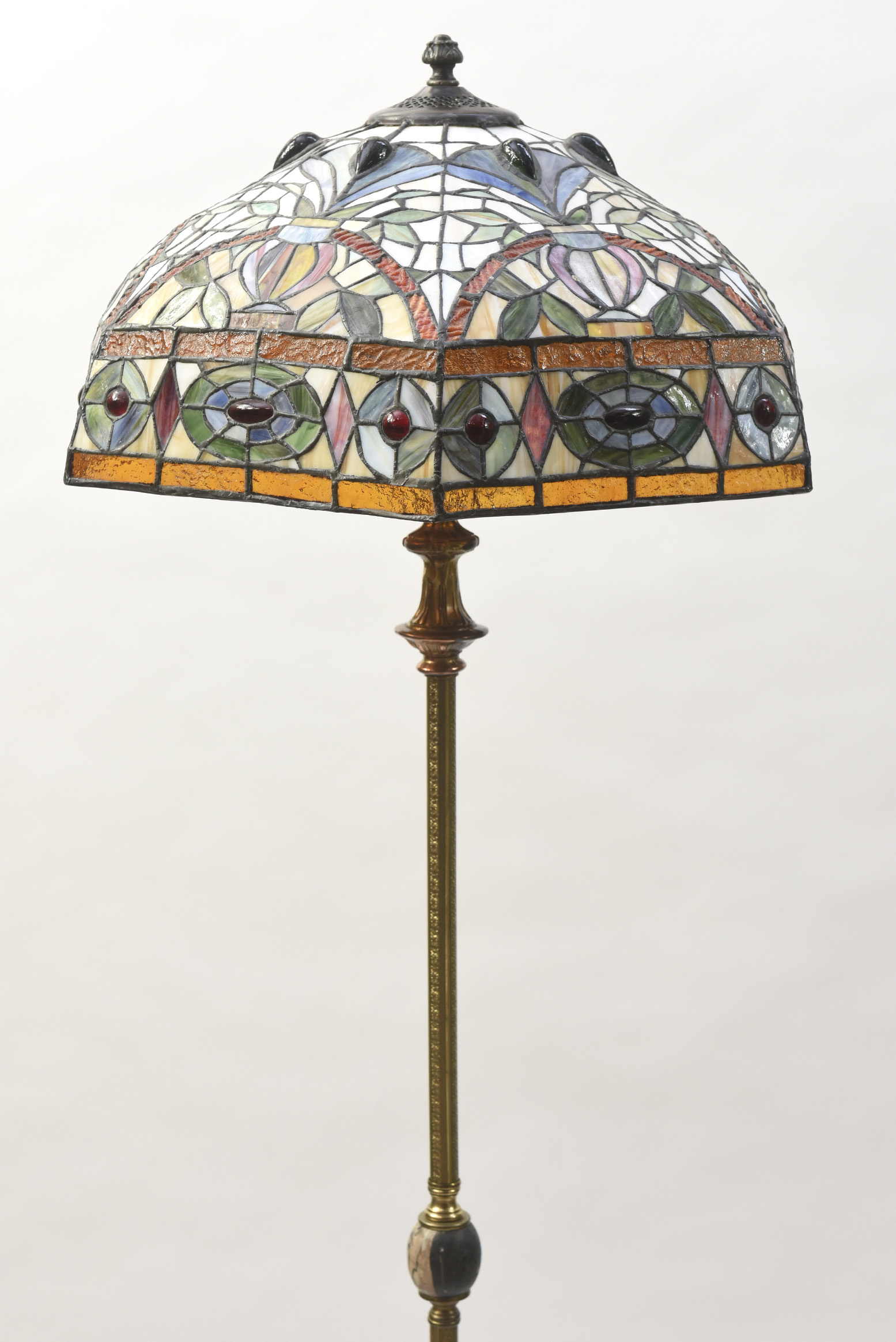 Early 20th Century Floor Lamp With Black Stone Base