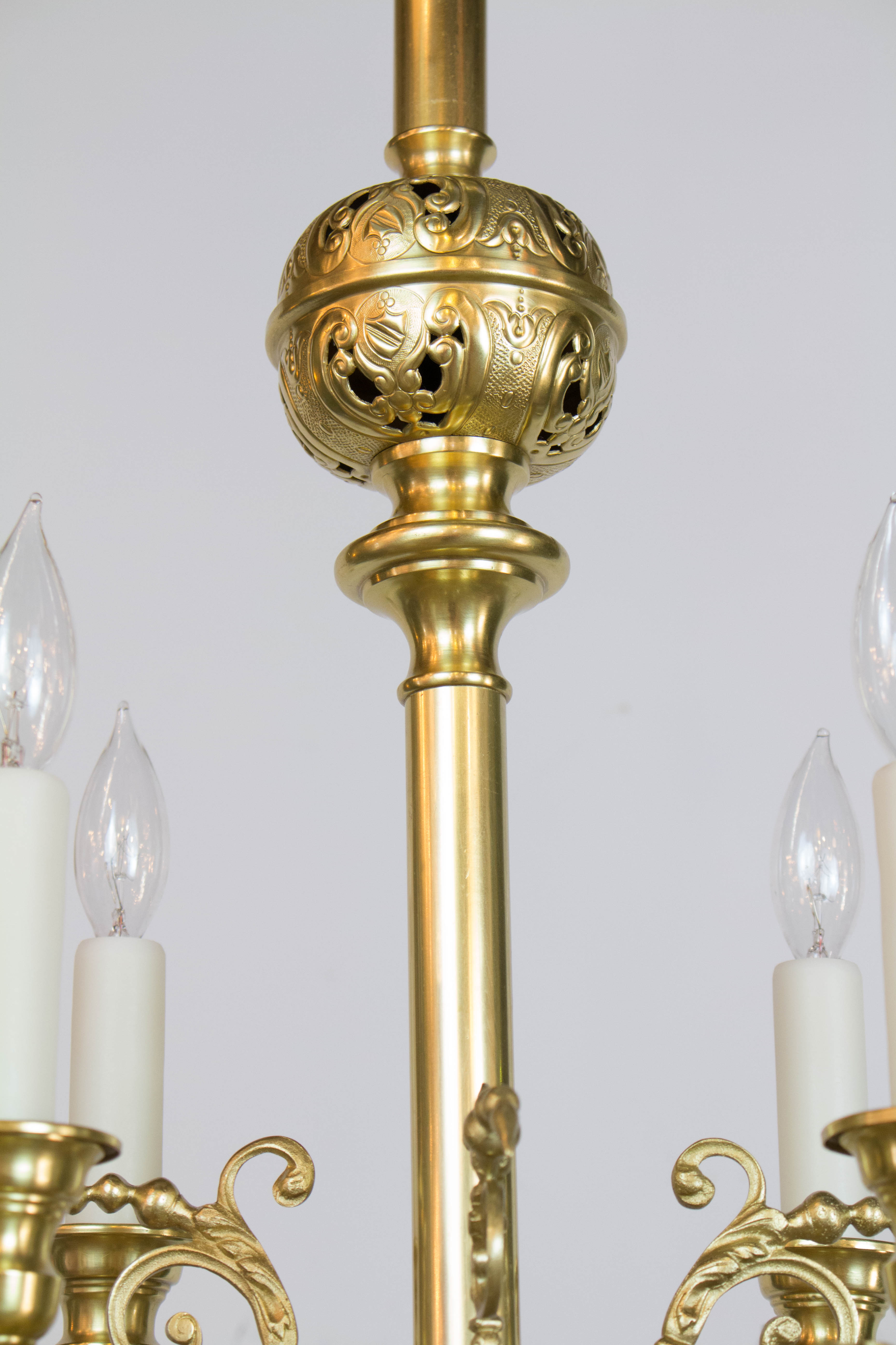 Twelve light continental brass gas chandelier appleton antique c345 2 aloadofball Image collections