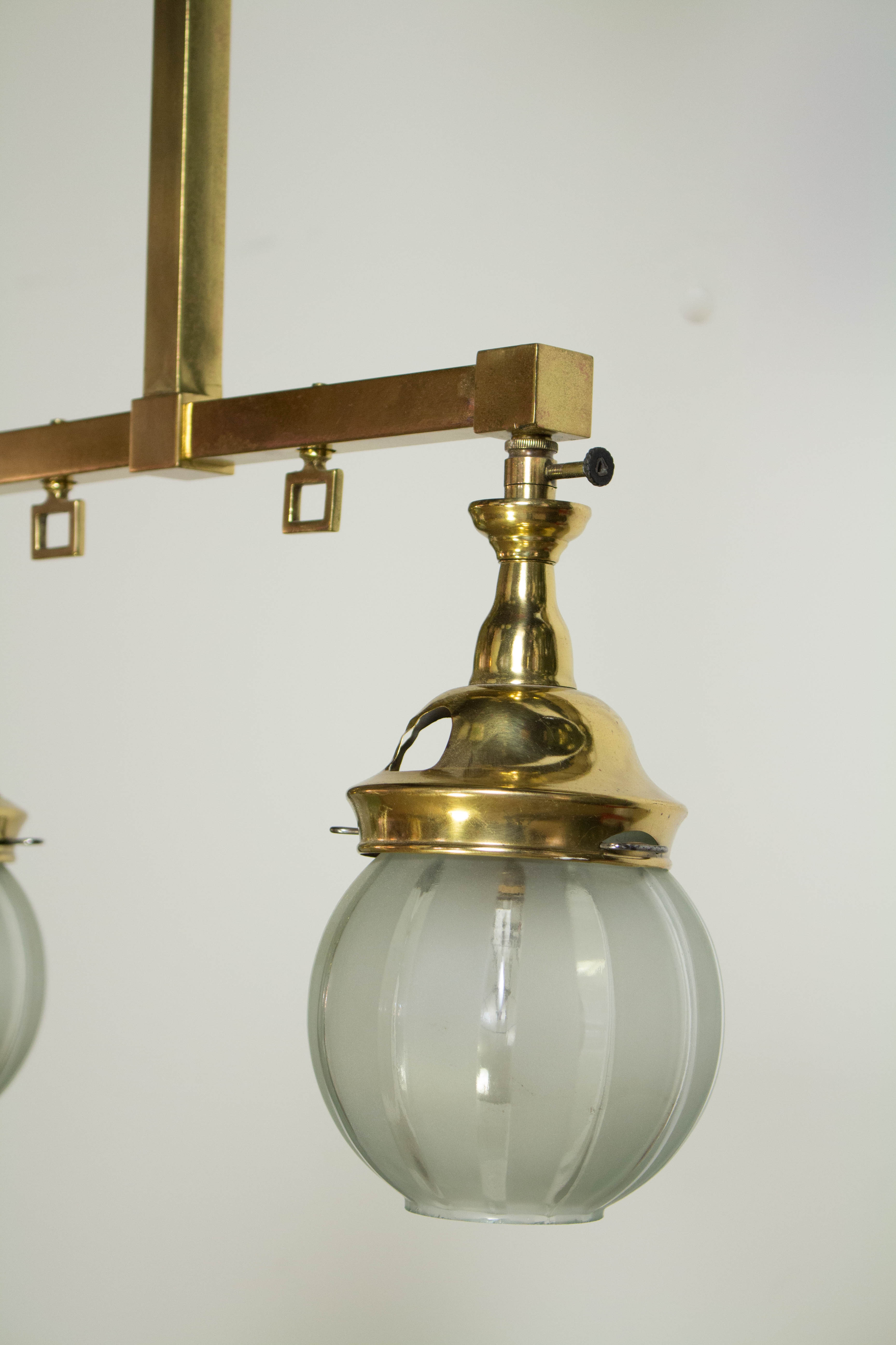 Two Light Gas Chandelier With Original Round Shades