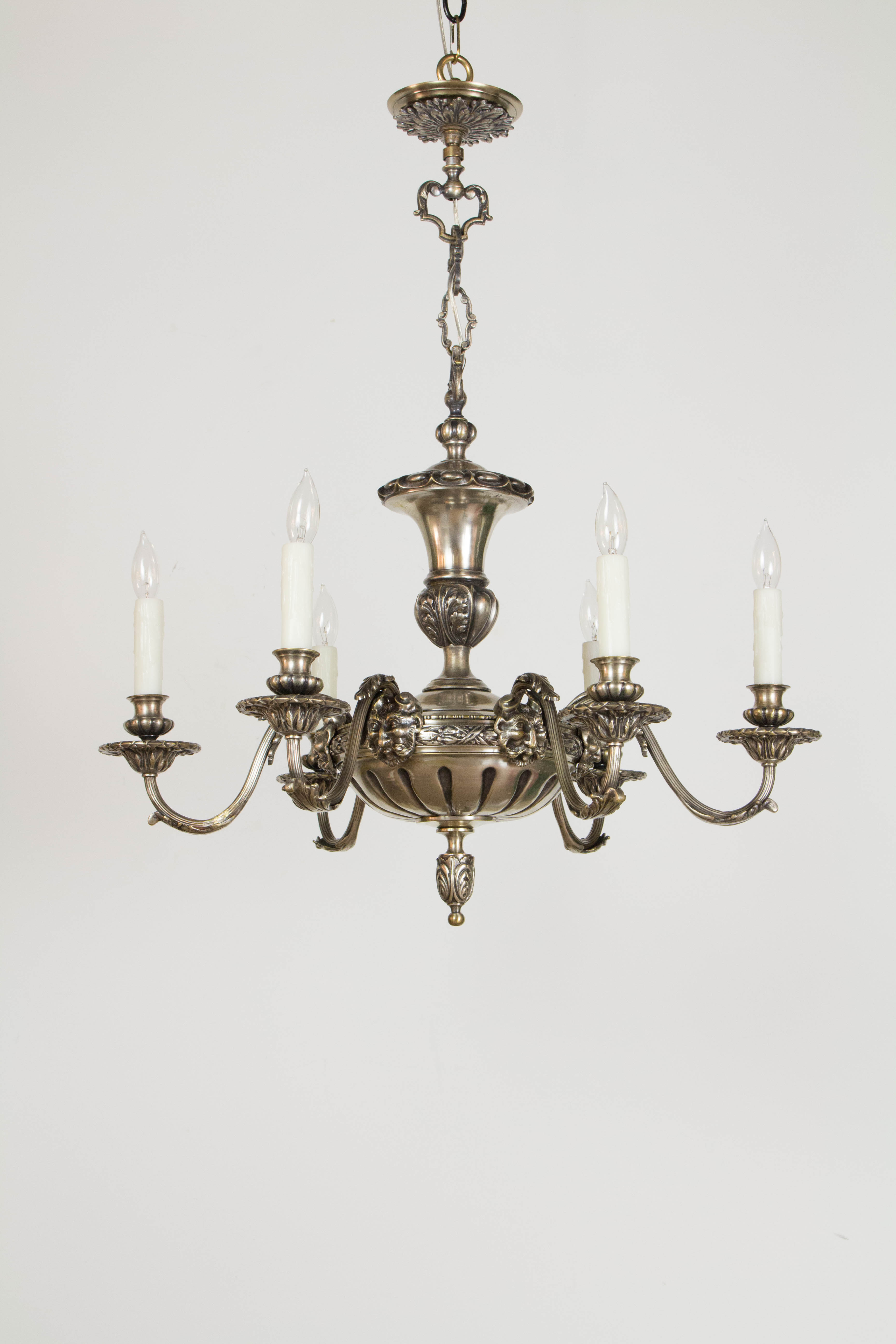 & Antique Silver Satyr Six Arm Chandelier - Appleton Antique Lighting