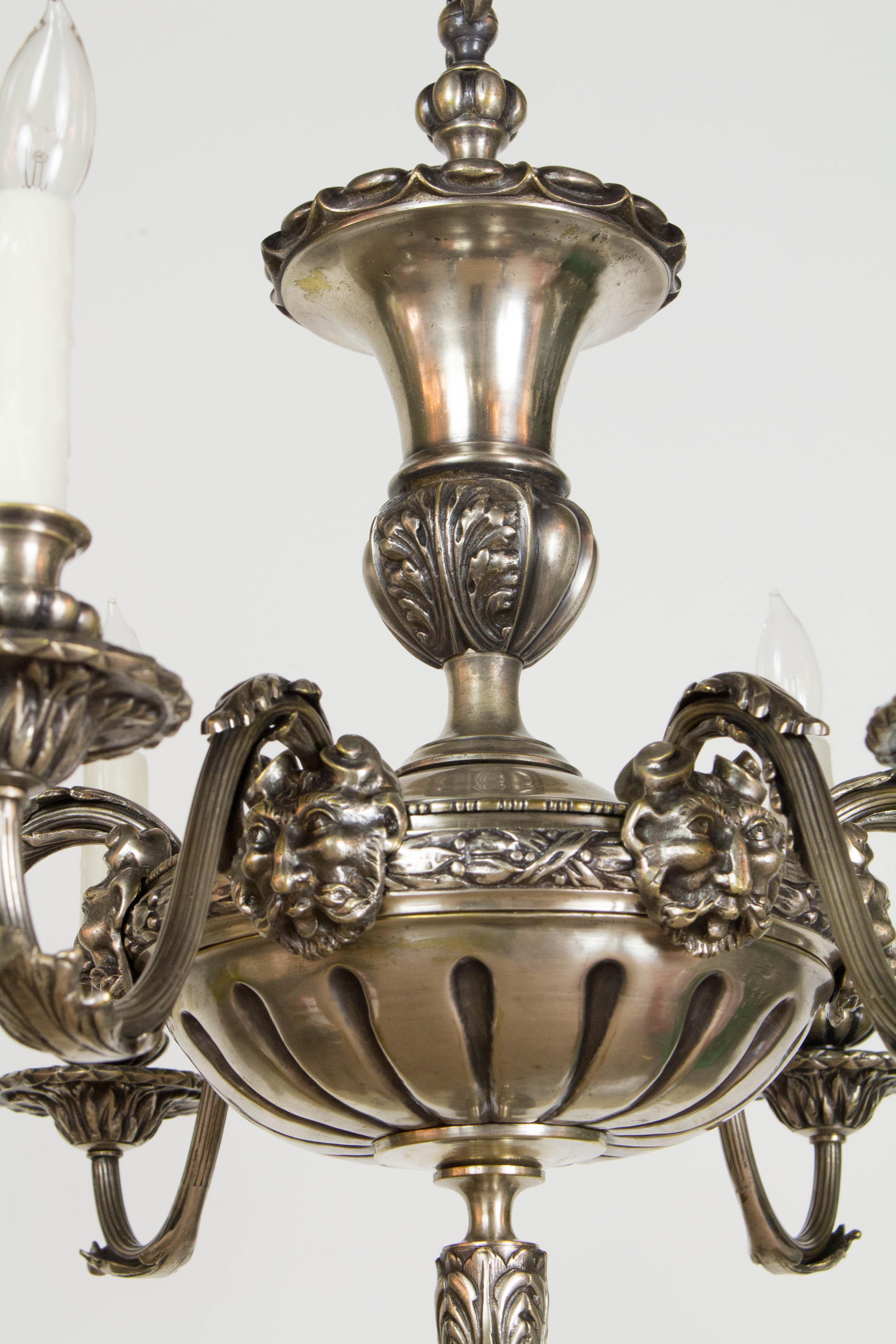 Antique Silver Satyr Six Arm Chandelier Appleton Antique