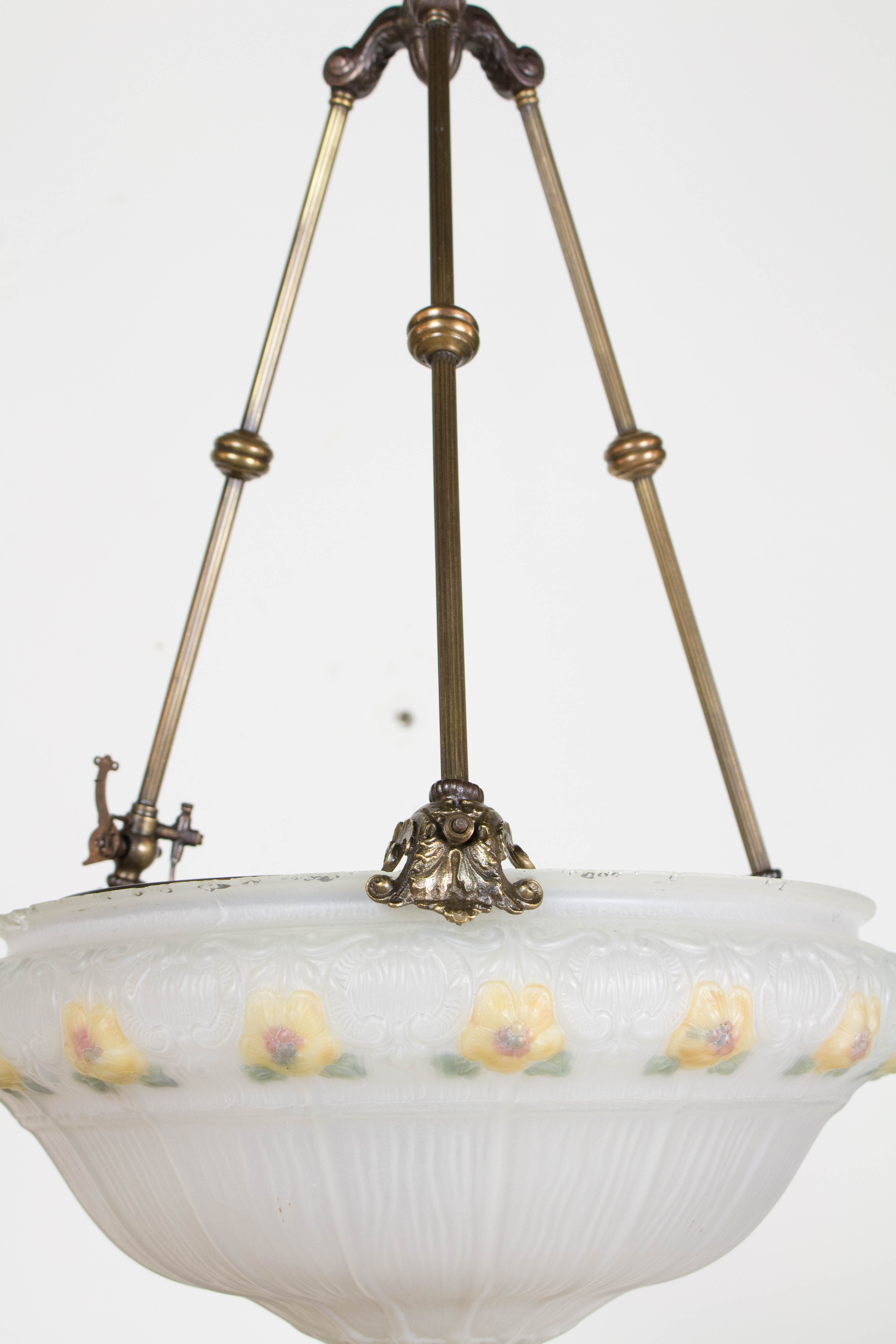 19th Century Glass Bowl Fixture With Yellow Flowers