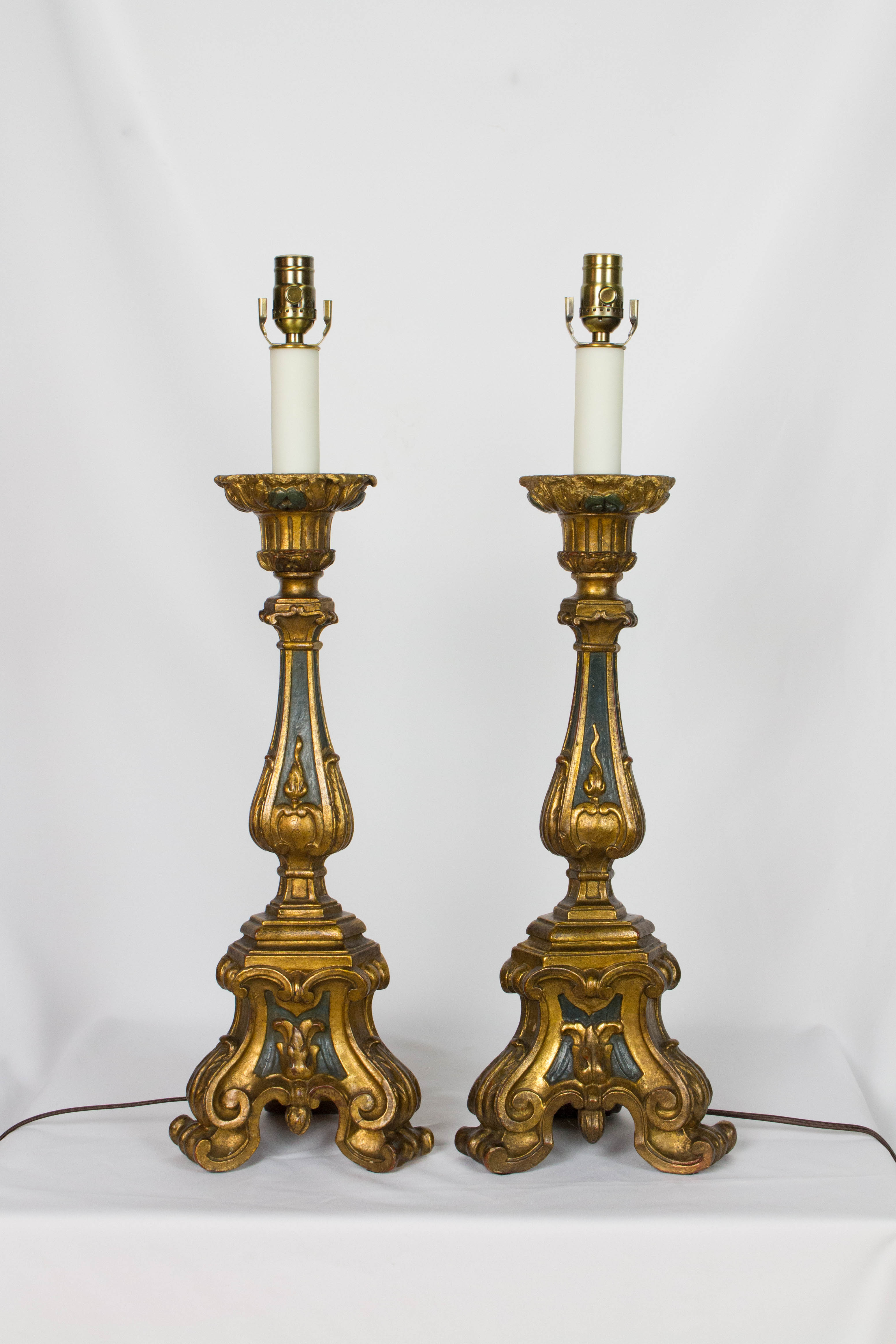 Pair Of Gilt Wood Candlestick Lamps