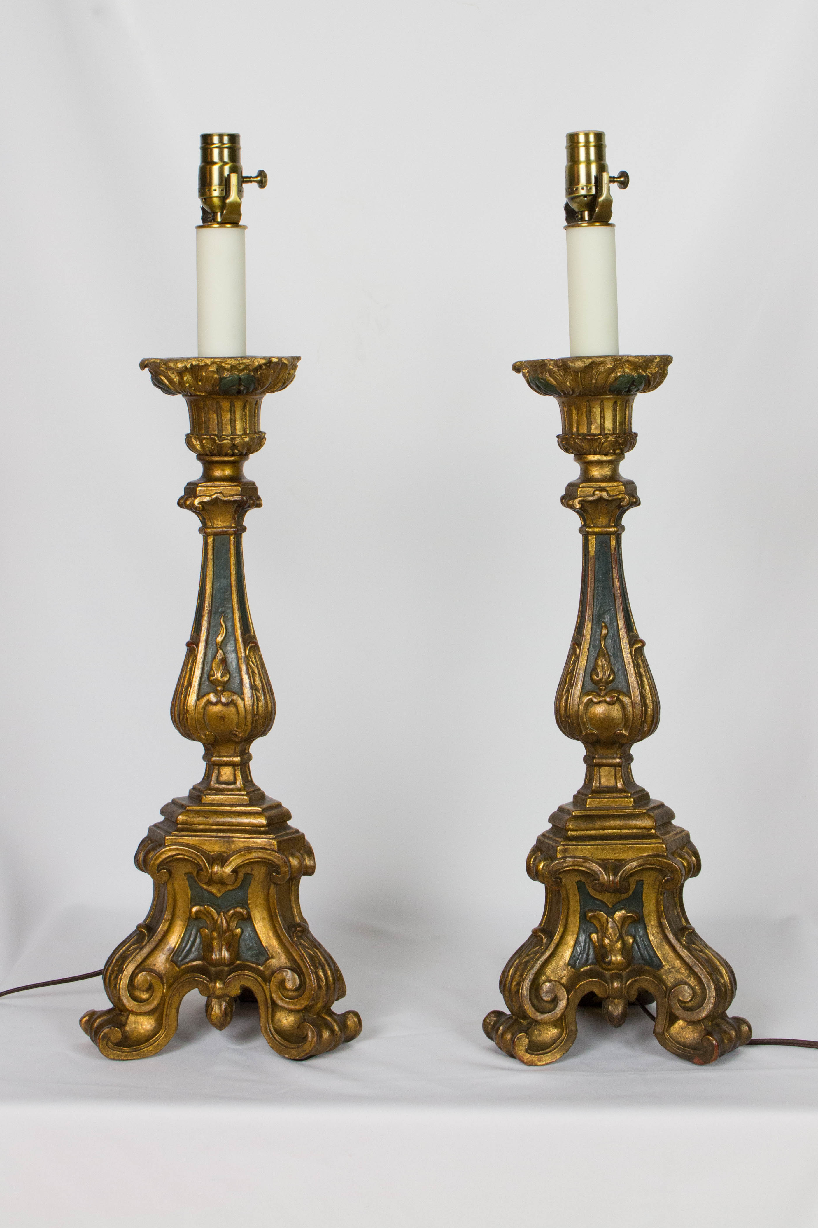 Pair Of Gilt Wood Candlestick Lamps Appleton Antique