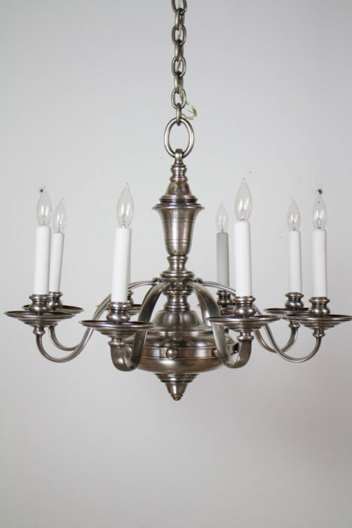 Eight arm chandelier with antique silver finish