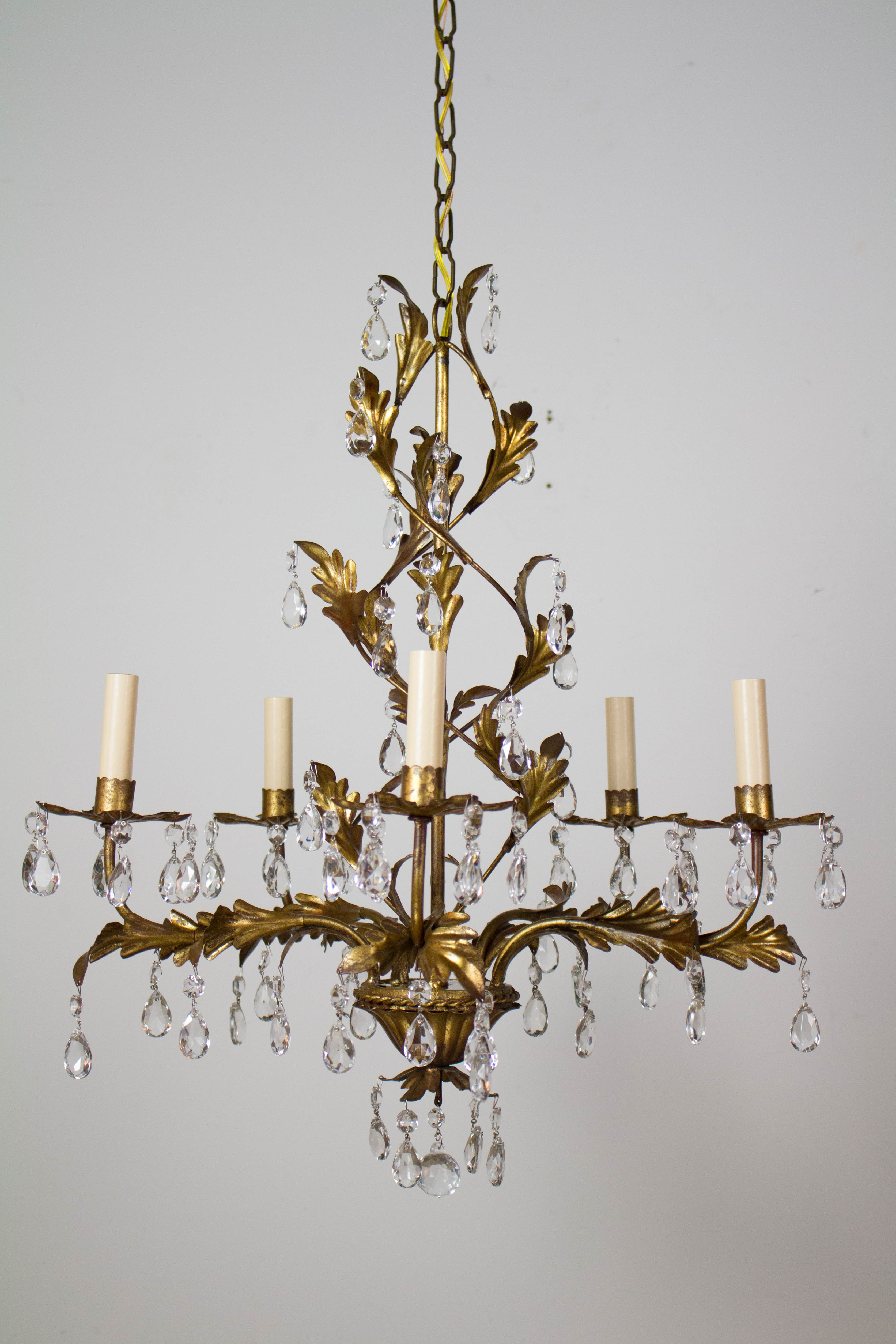Italian Five Light Gold Leaf Chandelier with Crystals