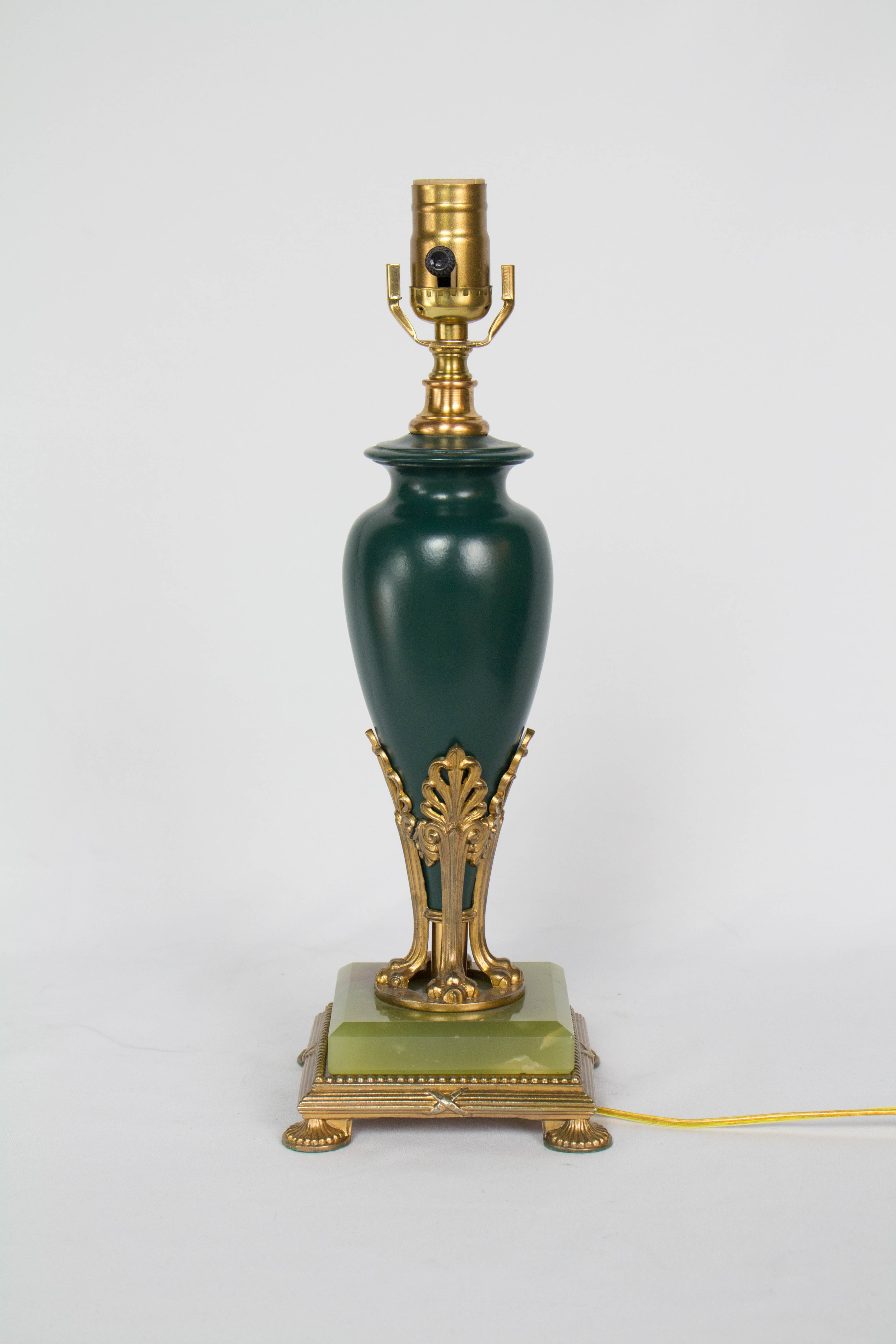 Green And Bronze Lamp With Onyx Base