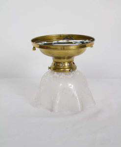 Small Flush Mount Fixture with Victorian Etched Handkerchief Glass