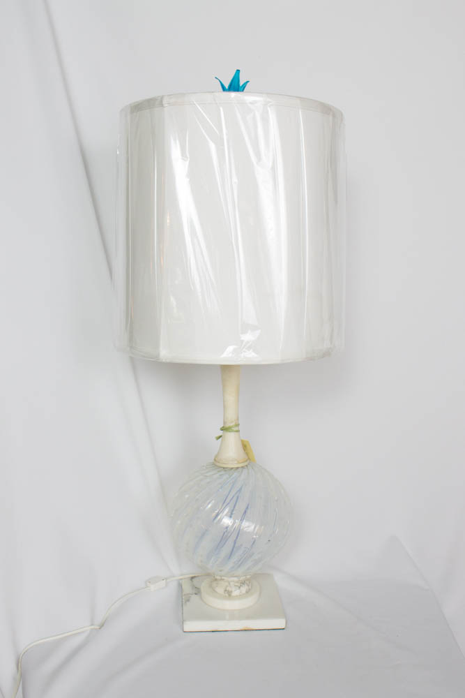 Midcentury Murano Glass And Alabaster Table Lamp