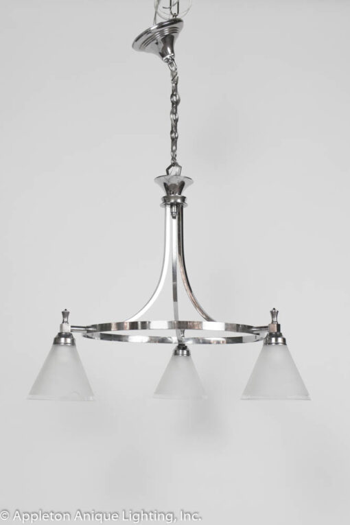 C407 Art Deco three light chrome chandelier