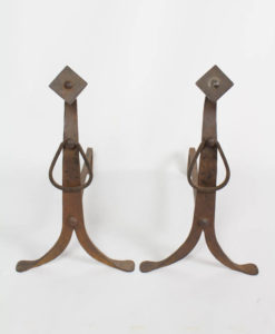 Arts and Crafts Wrought Iron Andirons