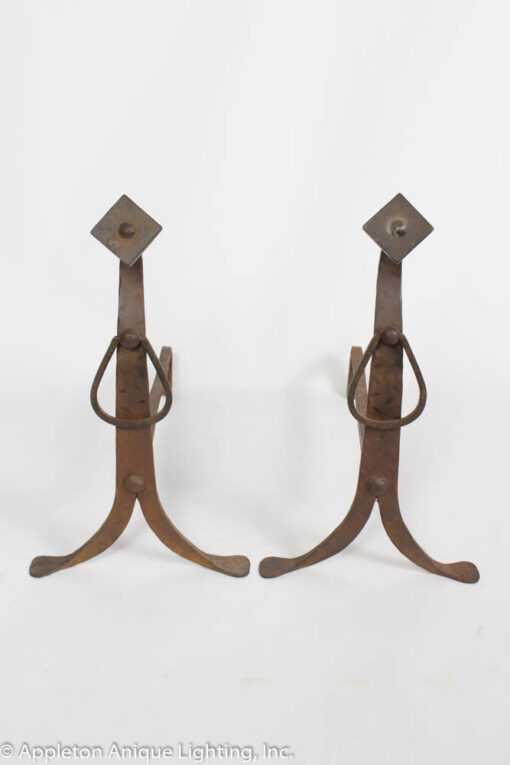 D135 Arts and Crafts Wrought Iron Andirons
