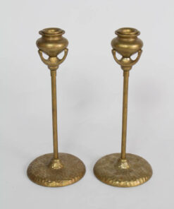 Pair of Arts and Crafts Style Candlestick Holders with Hammered Bases