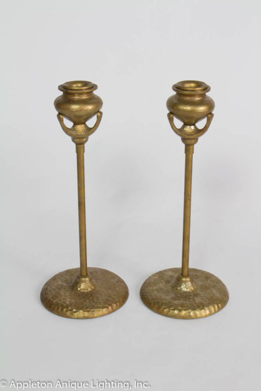 D137 Pair of Arts and Crafts Style Candlestick Holders with Hammered Bases