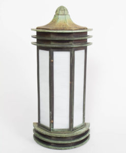 Verdigris Bronze Exterior Wall Lantern with White Slag Glass