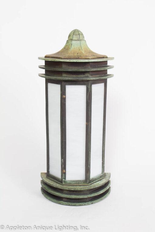 E113 Verdigris Bronze Exterior Wall Lantern with White Slag Glass