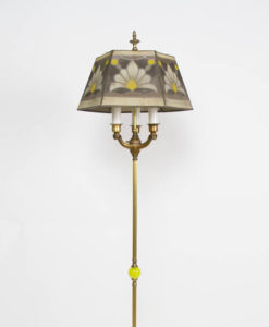 Three Light Floor Lamp with Vaseline Glass Ball and Antique Mesh Shade