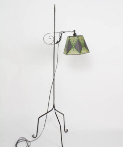 Antique Iron Bridge Lamp with Green mica Shade