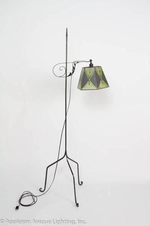 F160 Antique Iron Bridge Lamp with Green mica Shade