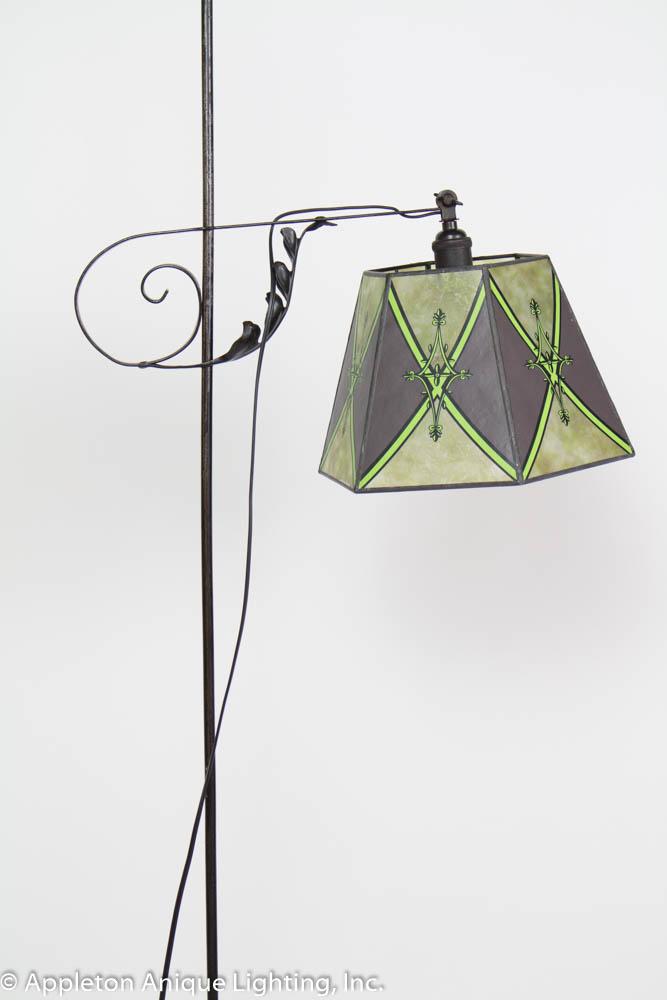 Antique Iron Bridge Lamp With Green Mica Shade Appleton