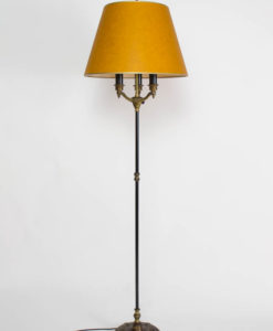 Restored Vintage Black and Gold Three Light Floor Lamp