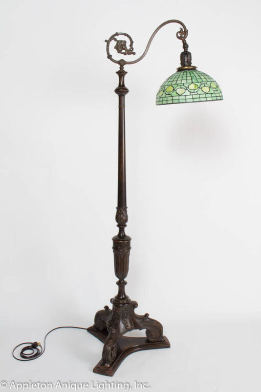 F171 Carved Antique Wooden Bridge Lamp With Green Stained Glass Shade