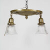 Restored Two light pan light with old crystalline glass