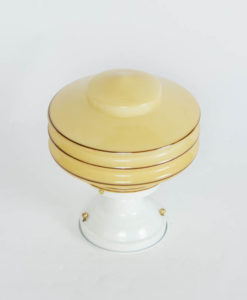 White Flush Mount Fixture with Amber Deco Glass