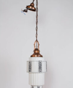 Art Deco Milk Glass Pendant with Copper Fixture