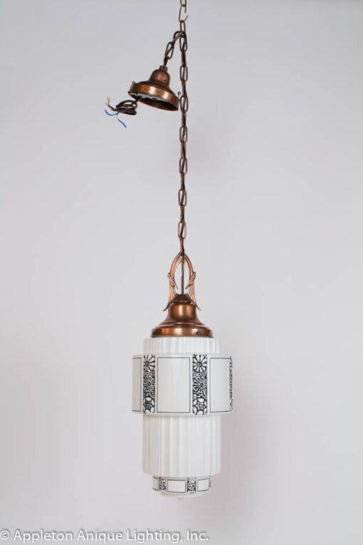 P237 Art Deco Milk Glass Pendant with Copper Fixture
