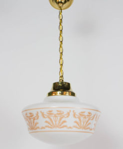 Set of Three Neoclassical Stencil Glass Pendant Fixtures