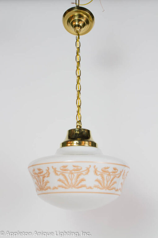 P239 Set of Three Neoclassical Stencil Glass Pendant Fixtures