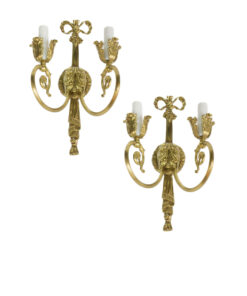 Pair of Antique Louis XVI Ornate Brass Wall Sconces