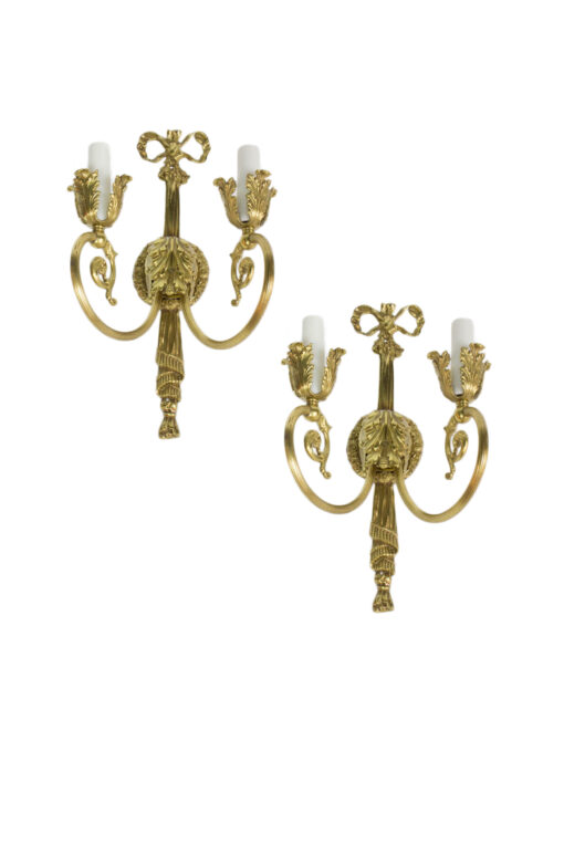 S309 Pair of Antique Louis XVI Ornate Brass Wall Sconces